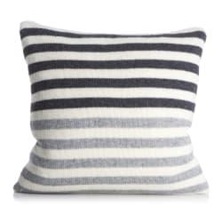 Pute Tinn m/dunfyll i lammeull striper i offwhite/mørk grå/grå 50x50 cm