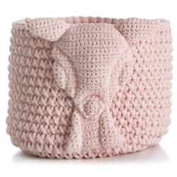 "Kurv strikket rosa ""sau"" H:30 Ø30 cm"