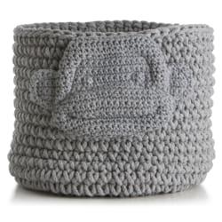 """Kurv strikket grå """"ape"""" H:30 Ø:30 cm"""