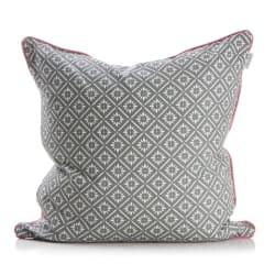 Pute mørk grå m/hvit mønster rosa bakside 50x50 cm