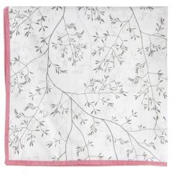 Duk hvit m/trykket stråmønster i grått 90x90 cm