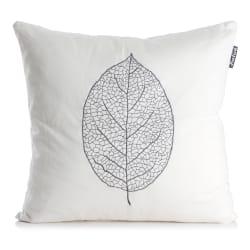 Pute Roma hvit med brodert blad i grått 50x50 cm