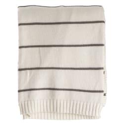 Pledd Tom offwhite m/grå striper striper 125x160 cm