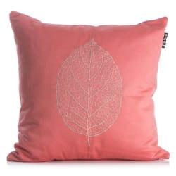 Pute Roma korall med brodert blad i grått 50x50 cm