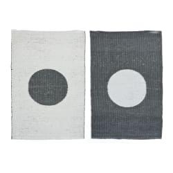 Rye Dots plastikk mørk grå/hvit 60x90 cm