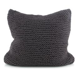 Putetrekk strikket mørk grå 50x50 cm