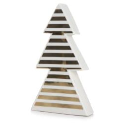 Juletre keramikk m/gullstriper H:20 cm