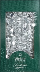 Glitter 3 m, sølv m/stjerner