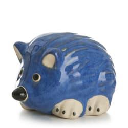 Pinnsvin glasert 14 cm, blå