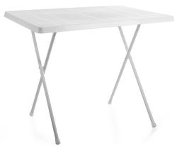 Campingbord 60x80cm, hvit plast/stålben