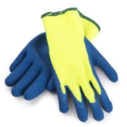 Gummi / tekstilhanske str 10 blå ce/en388