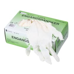 Engangshanske latex m/pudder S 100 pk