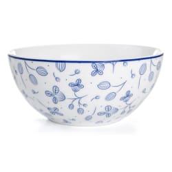 Skål Songvaar hvit med mørk blå blomsterranke