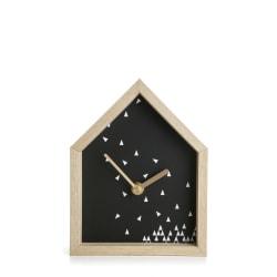 Klokke i hus hvit/sort H:18 cm