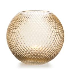 Vase rund glass lys brun m/diamantmønster H:18 cm