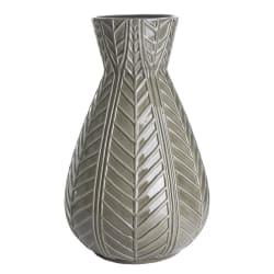 Vase porselen bladmønstret mørk grønn H:40 cm