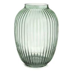Vase glass m/riller grønn H:25 cm