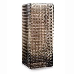 Vase glass firkantet m/mønster grå H:25