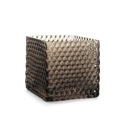 Lysglass firkantet m/diamantmønster grå H:10