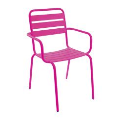 Stablestol Frøya m/armlene stål rosa