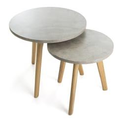 "Bord S/2 grå/eik ""betong look"" H:45/40 cm"