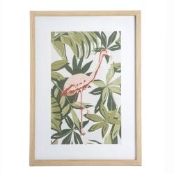 "Bilde m/glass og ramme i eik ""look"" flamingo 53x73 cm"