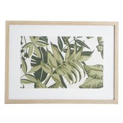 "Bilde m/ glass og ramme i eik ""look"" grønne blader 53x73 cm"