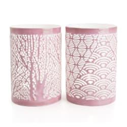 Lysglass i metall 2 ass m/utskjæringer rosa H:15
