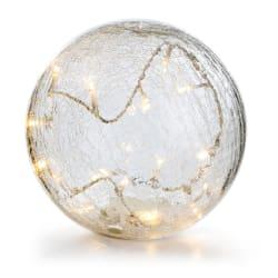 Dekorkule i krakelert glass m/LED lys Ø:20 cm