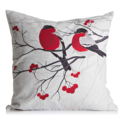 "Pute m/dunfyll fotoprint ""Fugler på rognebær"" 50x50 cm"