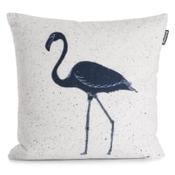 Pute hvit m/mørk blå pelikan 50x50