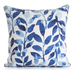 Pute hvit m/trykk av blå blader 50x50 cm