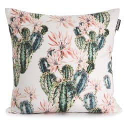 Pute hvit m/trykk av kaktus i blomst 50x50 cm