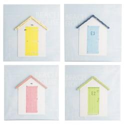 Bilde 3D hytte 4 ass blå, rød, gul, grønn 40x40cm