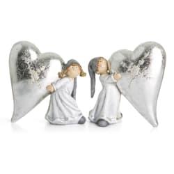 Jenter 2 ass polyresin m/stort hjerte grå/sølv H:13,5