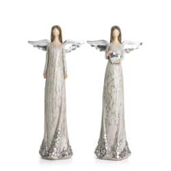 Engel 2 ass polyresin grå m/sølv H:25,5 cm