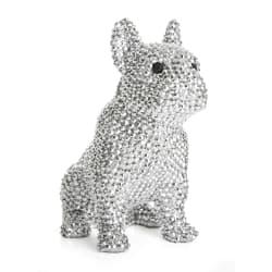 "Dekorhund sittende sølv m/""diamanter"" H:17 cm"