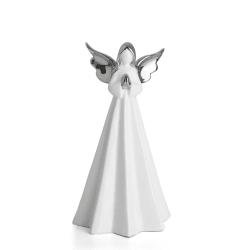 Engel hvit m/sølv vinger H:23,5 cm