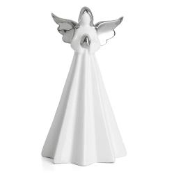 Engel hvit m/sølv vinger H:17 cm