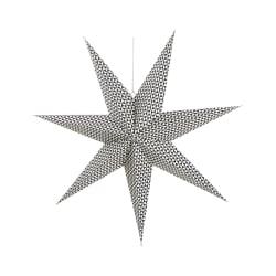 Papirstjerne med mønster 7-armet sort hvit 70cm