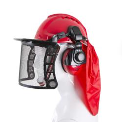 Vernehjelm med visir og hørselvern