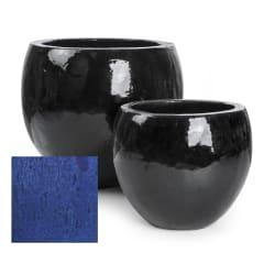 """Pottesett à 2 """"ball"""" keramikk blå"""