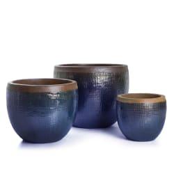 Pottesett à 3 Nouveau blå