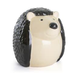Pinnsvin sittende keramikk H:18 sort/beige