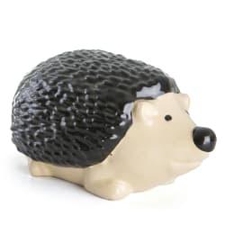 Pinnsvin stående keramikk H:14 cm sort/beige