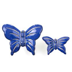 Sommerfugler sett à 2 keramikk blå