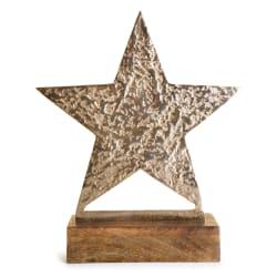 Dekorfigur Lodge stjerne på fot gull 37 cm