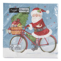 "Serviett ""Santa on a bike"" 20 pk 33x33 cm"