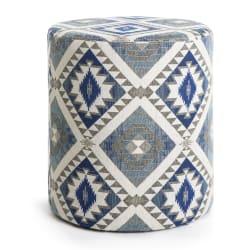 Puff Sigurd m/kelimmønster blå ø:40 h45 cm