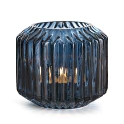 Telysglass Stripe blå 10 cm